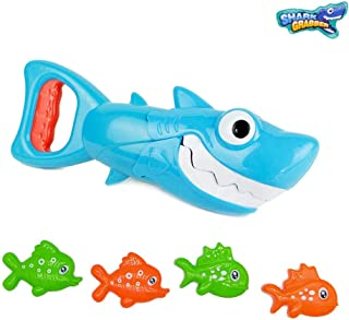 INvench Shark Grabber Baby Bath Toys - Blue Shark with Teeth Biting Action Include 4 Toy Fish Bath Toys for Boys Girls Tod...