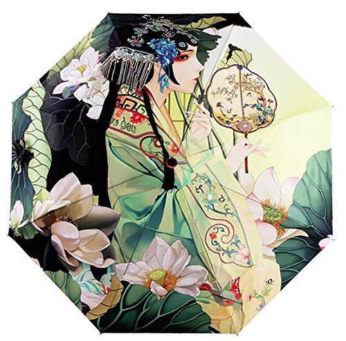 Estwell Reise-Regenschirm, faltbar, Winddicht, UV-Schutz, Sonnenschirm für Frauen, Classical Woman (Mehrfarbig) - EWLS1426