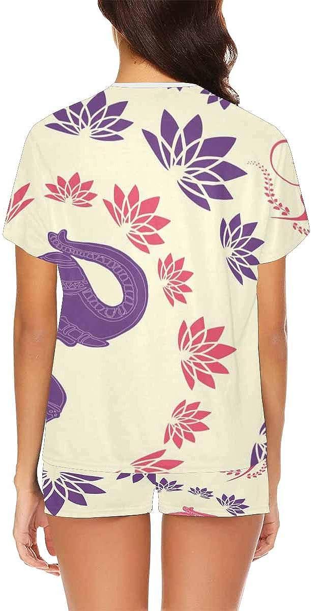 INTERESTPRINT Traditional Indian Elephant Women's Short Sleeve Breathable Sleepwear Two Piece Pajama Set