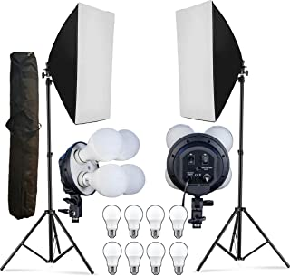 OCTOVA PRO Quadlux Mark II Soft Led Still & Video Light Softbox Double Kit with AC Power, YouTube Shooting, Videography, Portrait, Product Photography, Fluorescent Soft Box Studio Interview Equipment