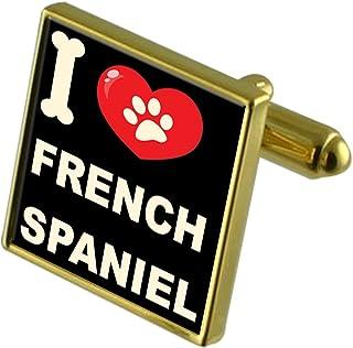 I Love My Dogゴールド調カフスボタン&お金クリップ?–?French Spaniel