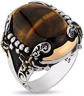 خاتم فضه رجالي صياغة تركية بحجر عقيق أصلي ، 2203