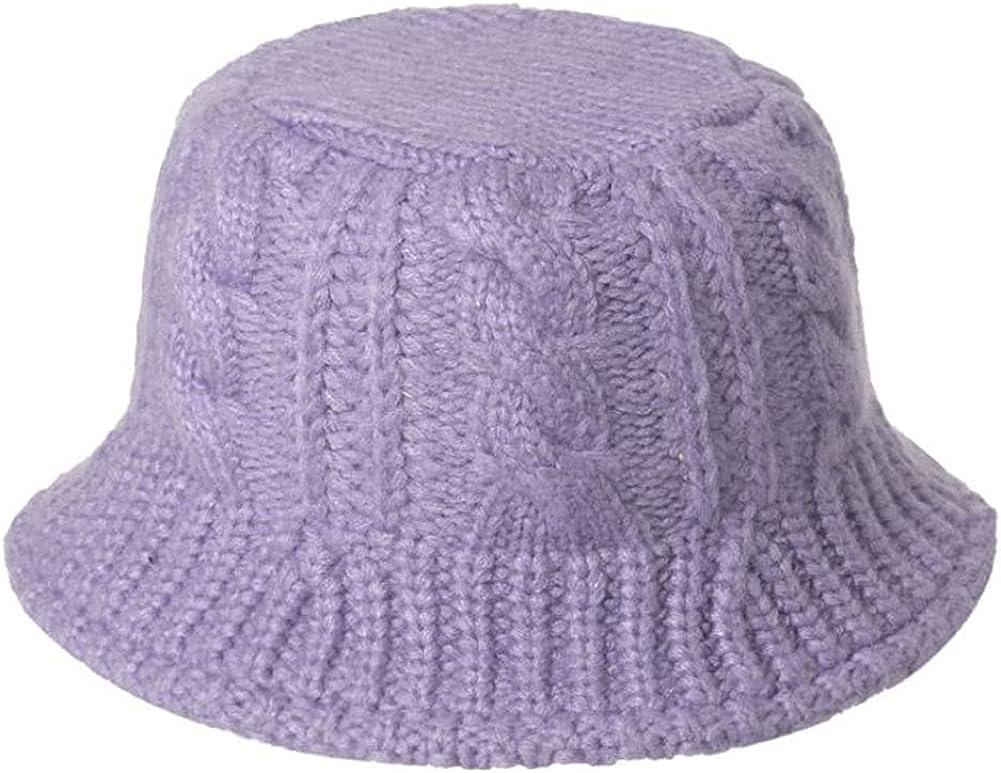 Knit Bucket Hat Cute Knit Cap Beanie Hats for Women Winter Warm Solid Color Fleece Cute Skull Cap