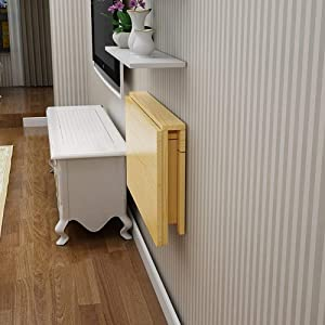YJDQZDDNZ Wall-Mounted Folding Drop-Leaf Table Pine Wood Kitchen Console Dining Table Balcony Simple Housing Floating Shelves Study Notebook Computer Desk Children Table Desk High Load-Bearing