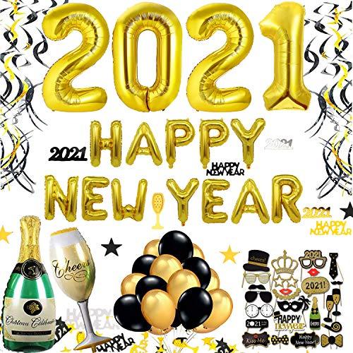 JWTOYZ Silvester Deko 2021 mit Happy New Year Girlande, Fotorequisiten, Konfetti, Wirbel, Silvesterpartydeko für Silvesterparty