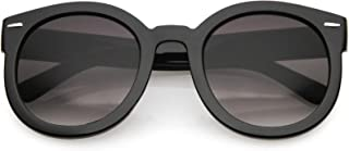 Round Retro Oversized Sunglasses for Women with Colored Mirror and Neutral Lens 53mm