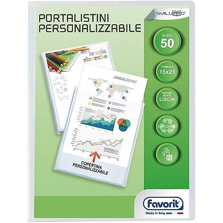Favorit 100460238 - Portalistino con Buste Fisse e Tasca Frontale Personalizzabile per Fogli 50 Buste, A5, Trasparente