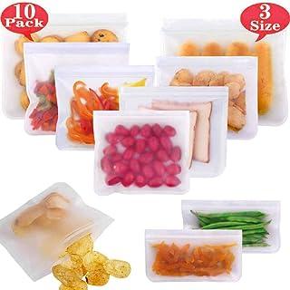 YOUOU Bolsas Reutilizables para Almacenamiento de Alimentos,10 Pack Bolsas Congelar Reutilizable,Bolsas de conservación, Bolsas Reutilizables para Comida,Carne Fresca, Vegetales, Frutas(2L + 6M + 2S)