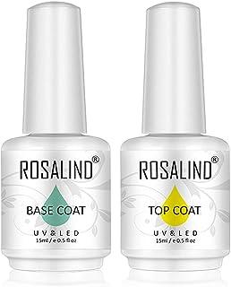 ROSALIND 2PCS capa superior y capa base gel esmalte de uñas empapa de UV LED barniz multiusos 15 ml