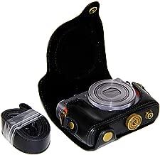 CEARI Detachable Camera Leather Case Protective Bag for Canon PowerShot G9X + MicroFiber Clean Cloth - Black