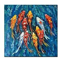 壁アート写真伝統的な中国の抽象的な風景画プリント9鯉魚のキャンバスポスターリビングルームの装飾40x40cmフレームレス
