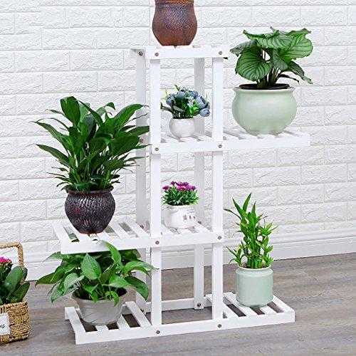 HJ support à fleurs Yxsd Étagère de Vase de Plancher Multi-Couche de Bois Dur, étagère en Bois Bonsai extérieure d'intérieur (Color : White, Size : 4 layers-72x25x87cm)
