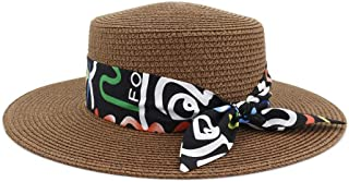 SXQ Sun Hat 2019 Male Female UV Protective Straw Hat Outdoor Travelling Straw Hat with Bow Decoration Solid Color Fashionable Sunproof Fedora Hat for Vocation Seaside Beach Hat Sun Hat
