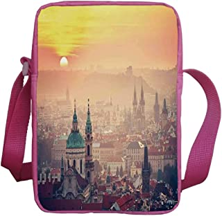 Cityscape Stylish Kids Crossbody Bag,Sunrise in Prague Old Medieval Town Historical Monumental Nostalgic Boho Deco for Girls,9