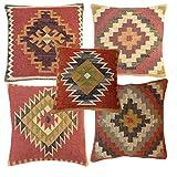 iinfinize 5 fundas de cojín de lana de yute de yute hippie vintage Kilim, fundas de cojín para sala de estar, fundas de almohada de lado de cama, funda de cojín rústico