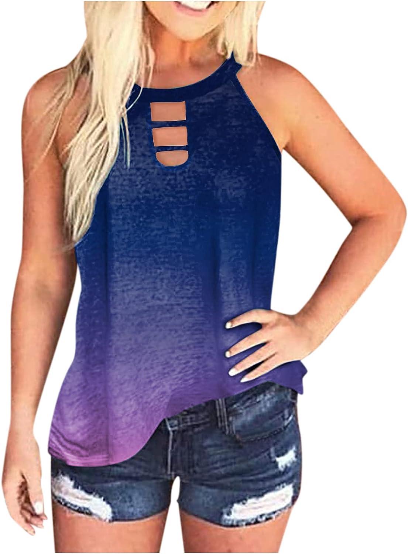 Summer Tops for Women Plus Size,Women Tie Dye Tank Tops Loose Fit Sleeveless Halter Neck Casual Summer Tops