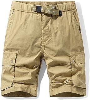 waitFOR Mens Knee Length Combat Cargo Chino Shorts Cotton Casual Work Summer Shorts with Multi Pockets Plain Beach Half Pa...