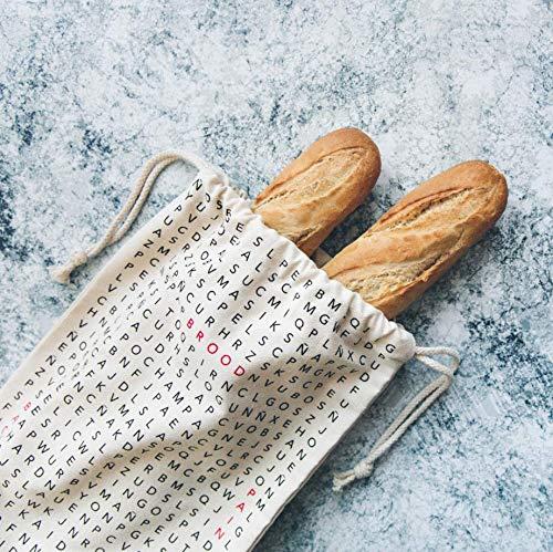 Fisura   Bolsa para el Pan de algodón y poliéster. 50 x 25 cm. Panera para Colgar con diseño de crucigramas.