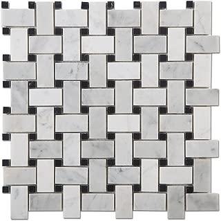 Diflart Italian White Carrara Marble Mosaic Tile with Black Dots Polished, 5 Sheets/Box (Basketweave)