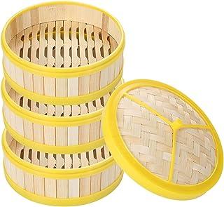 سلة خيزرانية مع غطاء، سلة بخار يدوية الصنع، بخارية للطعام الصيني للطبخ بالبخار، طهي، أواني المطبخ