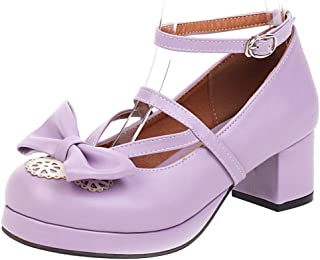 Nonbrand TAONEEF Women Sweet Bow Lolita Shoes with Lace Mid Block Heels
