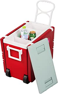generec Multi Function Rolling Cooler Picnic Camping Outdoor w/Table & 2 Chairs Red