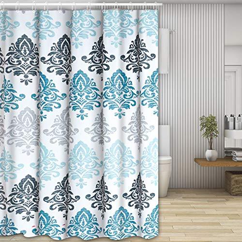 Molbory Duschvorhänge, Waschbar Badvorhänge aus Polyester, Wasserdicht Anti-Schimmel, Anti-Bakteriell mit 12 Duschvorhangringe Design, 180 x 180cm(Blume)