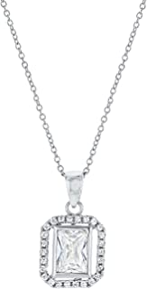 Montage Jewelry Women's Princess Cut Cubic Zirconia & Sterling Silver Bridal Pendant Necklace