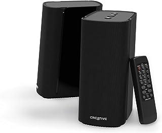 Creative T100 – Altavoces de Escritorio compactos Hi-Fi 2.0, hasta 80W de Potencia máxima con Bluetooth 5.0, Entrada óptica, Aux-in, para PC y portátil (Negros)