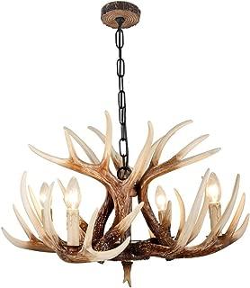 EFFORTINC Vintage Style Resin Deer Horn Antler Chandeliers,4 Lights(Bulbs Not Included)