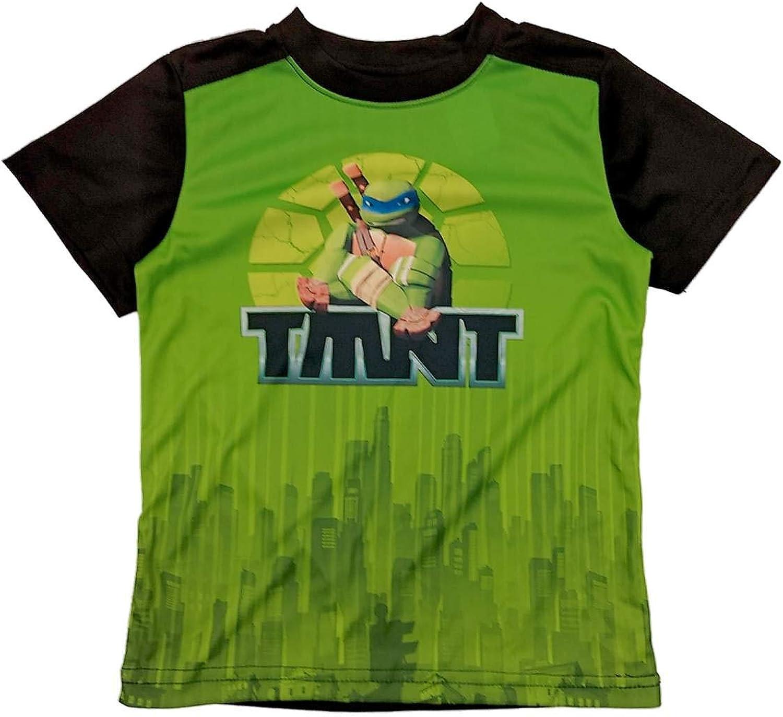 Teenage Mutant Ninja Turtles TMNT Boys Silky Green & Black T-Shirt Leo Shirt 4-5