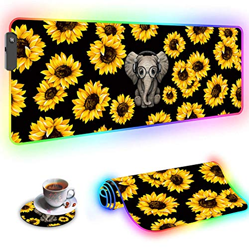 RGB Large Gaming Mouse Pad,Wkooff Led Soft Non-Slip Rubber Base Glowing Gamer Mousepad Gaming Desk Mat 31.5x11.8 Inch and Coffee Coaster,Cute Elephant and Sunflower