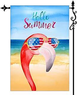 JAYUS Welcome Hello Summer Season Garden Yard Flag 12.5 X 18- Vivid Colors Double Sided Cool Beach Pink Flamingo Holiday G...