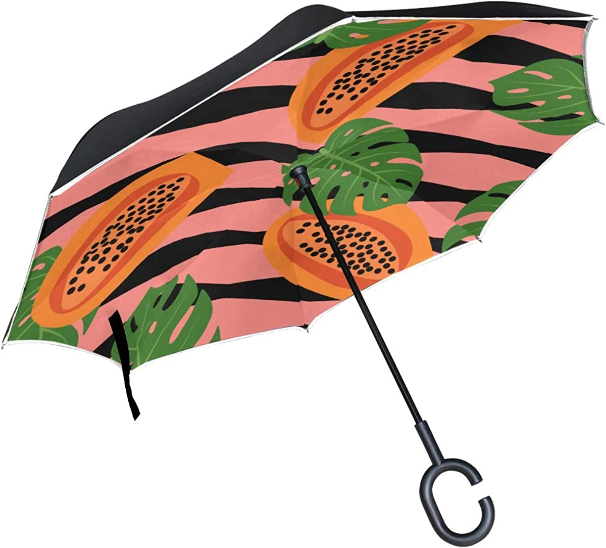 Inverted Umbrella Striped At the Max 58% OFF price Pattern Umbrell Tropical Fruits Papaya