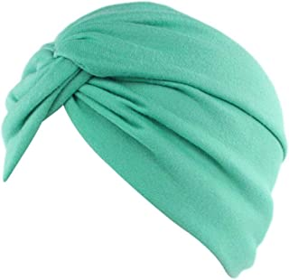Women Cancer Chemo Hat Beanie Scarf Turban Head Wrap Cap Cotton Knitted Hat Green