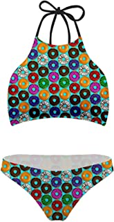 Dreaweet Floral Printed Two Piece Swimsuit Bikini Halter Neck Retro Flounce for Women Girl