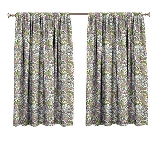 Paisley Curtain Panels Traditional Persian Pickles Pattern Vintage Style Arabesque Ornament Window Curtain Insulated Light Blocking Drapes 48x63 Inch