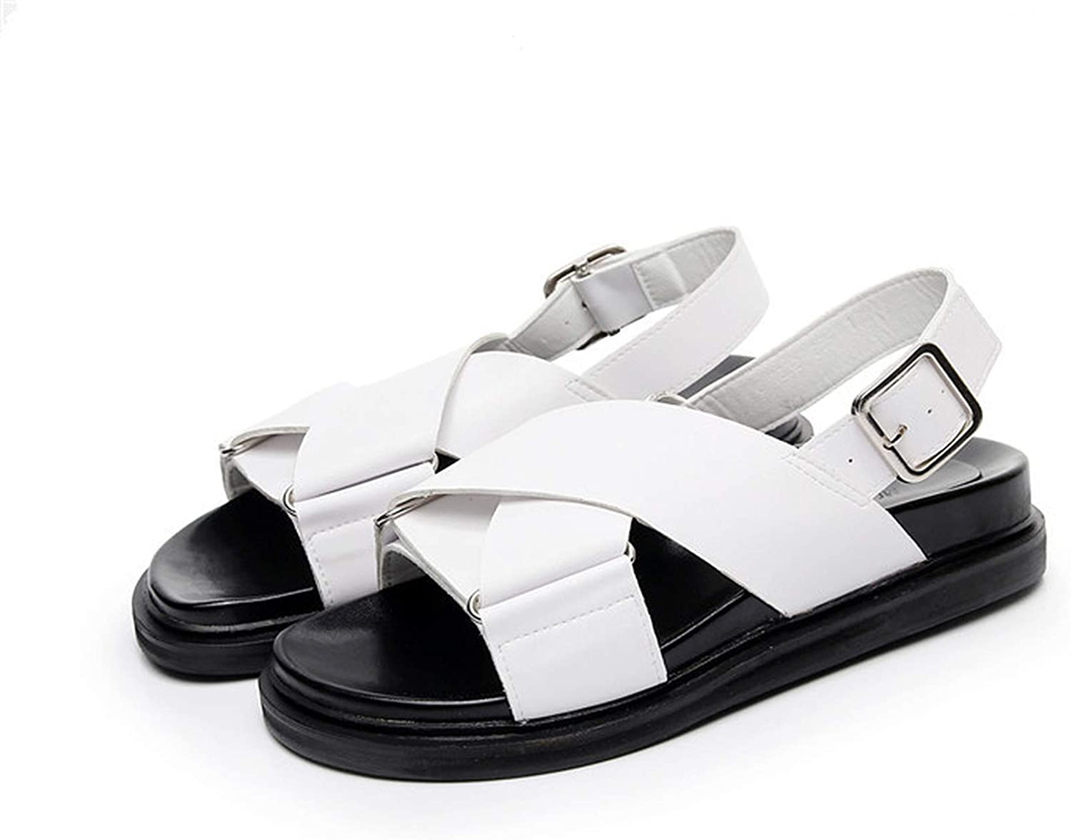 Women Female Patent Cow Genuine Leather Casual shoes Sandals Platform Korean Summer Cool Beach,White,35