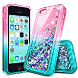 NageBee iPhone 4S Case, iPhone 4 Glitter Case for Girls Kids Women, Liquid Quicksand Waterfall Floating Sparkle Shiny Bling Diamond Cute Case for iPhone 4/4S -Pink/Aqua