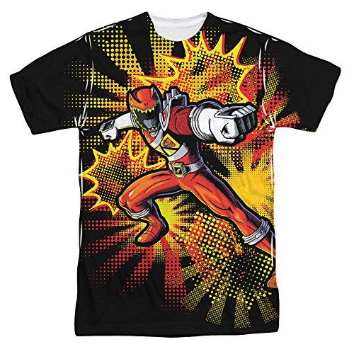 Power Rangers Camiseta para niños con impresión frontal de Dino Charge Red Ranger para adultos