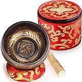 Juego de cuencos tibetanos con caja de seda y cojín de seda y mazo, cuenco de sonido de meditación hecho a mano para yoga y atención plena, exquisito regalo para familia, amigos o para ti mismo.