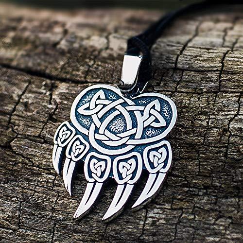 CHCO Celtics Vikingo Color Plata Acero Inoxidable Garra De Oso Colgante Collar Amuleto Nórdico Joyas