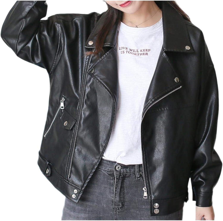 SpaceAngel Women's Skinny Coat Notch Collar ZipFront Moto Biker Jacket