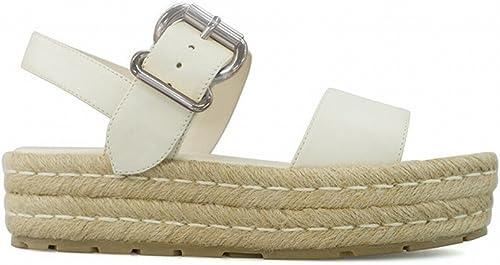 DHG Sandales de Plate-Forme de Boucle à Une Seule Touche Sandales de Vacances Chaussures à Talons Hauts de L'étudiant à Bout Ouvert,Blanc,37