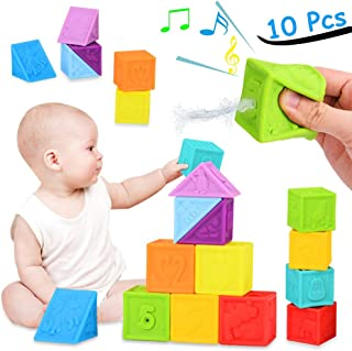Beedoolteytoy teytoy Baby Blocks, Soft Building Blocks for Toddlers Stacking Blocks, Squeeze Teething Chewing Toys Educational Baby Bath Play with Shapes Animals Textures Baby Toys