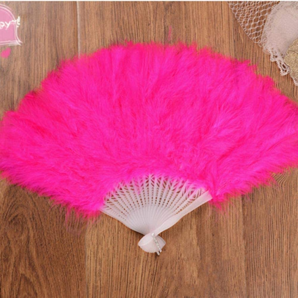 BHG Folding Hand Held Fan Chinese Style Dance Wedding Party White, Red, Rose Red 42cmx25cm,C 1pcs Lanyard