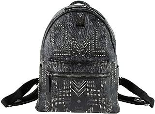 MCM Unisex Black Coated Canvas Studded Medium Backpack MMK8AVE89BK001