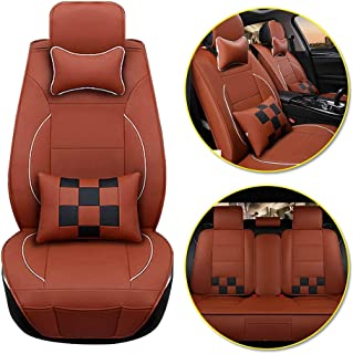 Longzhimei Car Seat Covers for VOLVO C70 S40 S60 S80 S90 V40 V60 Waterproof Breathable 5 Seats Full Set Front Rear Car Seat Cushion Cover (Brown Black)