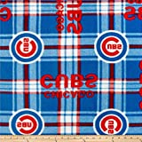 MLB Fleece Chicago Cubs Plaid Red/Blue, Fabric by the Yard