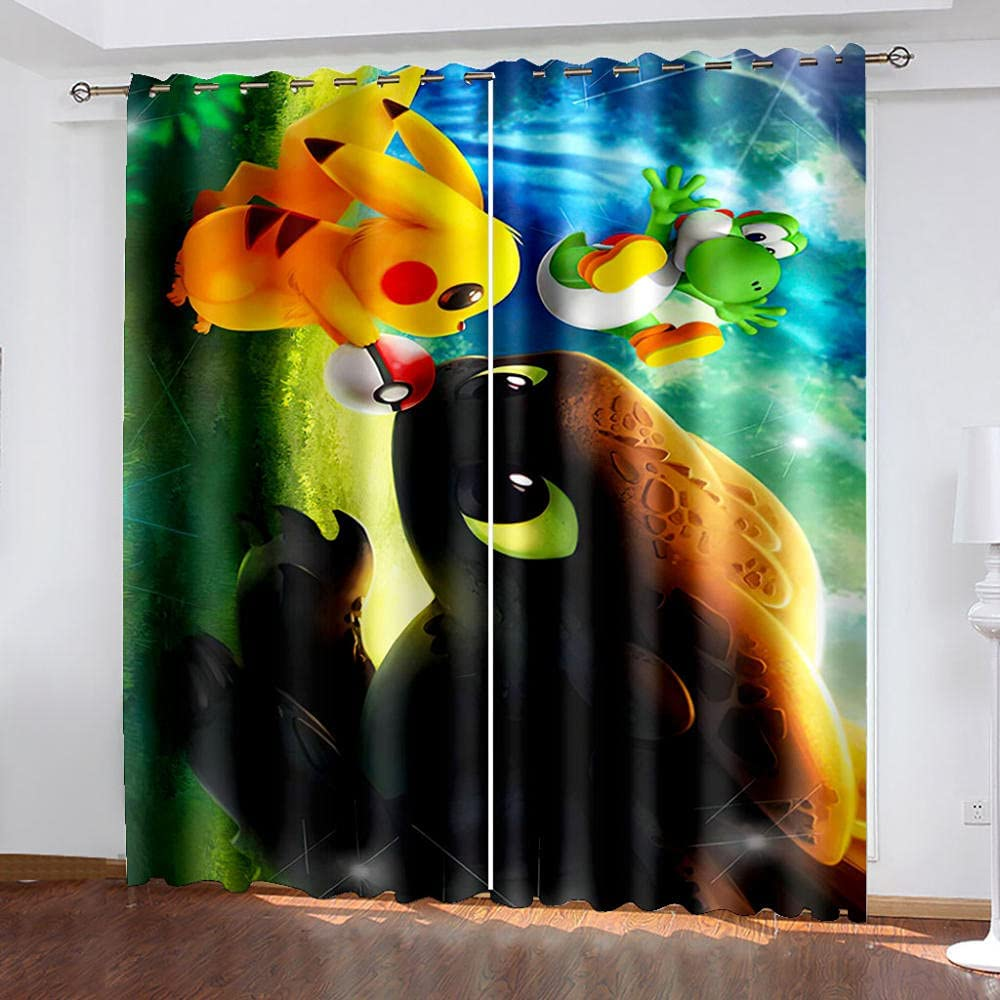 shipfree Blackout Curtain Memphis Mall Pikachu Reduces darken Privacy Protection Noise
